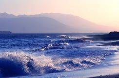 Crashing Waves on Andalusian Coast. Beach Scene with crashing waves in Andalusia, Spain Stock Photos