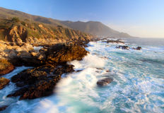 Crashing Waves At Sunset On Big Sur Coast, Garapata State Park, Near Monterey, California, USA Royalty Free Stock Photos
