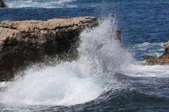 Crashing waves at Capo di Sorrento, Italy. Stock Photography