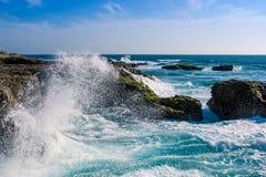 Crashing Waves at Chocolatera. Waves of the Pacific Ocean crashing against the rocks at La Chocolatera near Salinas, Ecuador Stock Photos