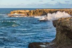 Crashing Waves at the Coast. Sea waves crashing against the rocks on the north coast of Barbados Stock Image