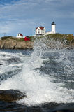 Crashing Waves at Maine's Cape Neddick Lighthouse Stock Images