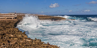 Crashing waves at National Aprk Shete Boka Curacao Royalty Free Stock Images