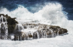 Crashing waves at Noth coast Curacao Royalty Free Stock Image
