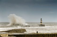 Crashing waves over Seaham Harbour Stock Images