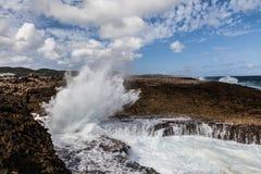 Crashing waves at  Shete Boka Curacao Royalty Free Stock Photo