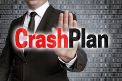 Crashplan with matrix is shown by businessman royalty free stock images