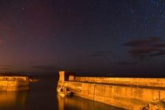 Craster Harbour at Night Royalty Free Stock Photos
