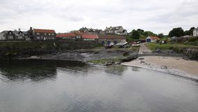 Craster harbour Northumberland coast north east uk south of Dunstanburgh castle stock video footage