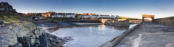 Craster Harbour panoramic Stock Image