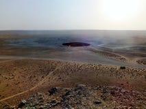Cratère évasé de gaz au Turkménistan Photos libres de droits