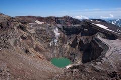 Cratère de Gorely Volcano's avec son glacier impressionnant ci-dessus photographie stock