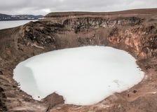 Cratère de Viti dans Askja, montagnes de l'Islande, l'Europe image stock