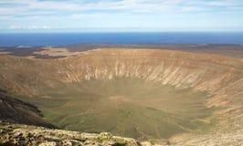 Cratère de volcan, Lanzarote Images libres de droits