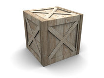 Crate. 3d illustration of single wooden crate over white background royalty free illustration