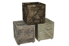 Crate. Wooden crate isolated over a white background. This is a 3D rendered picture royalty free stock photos
