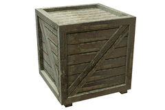 Crate. Wooden crate isolated over a white background. This is a 3D rendered picture Royalty Free Stock Image