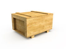 Crate. 3d render of wood box (isolated on white Stock Photos