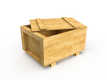 Crate. 3d render of wood box (isolated on white Royalty Free Stock Photos