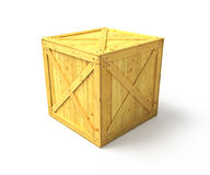 Crate. Clear wooden crate isolated on white background Stock Image