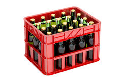 Crate with beer bottles, 3D rendering. On white background Stock Photos