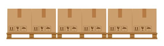 Crate boxes on wooded pallet, wood pallet with cardboard box in factory warehouse storage, flat style warehouse cardboard parcel royalty free illustration