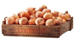 Crate of brown onions Royalty Free Stock Images
