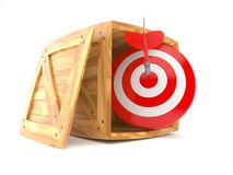 Crate with bull`s eye. Isolated on white background stock illustration
