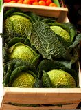 Crate of cabbages. A crate of cabbages at a local market in Munich, Germany Stock Photos