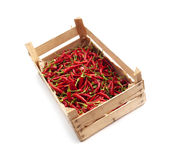 Crate of chili Stock Photos