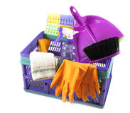 Crate with cleaning supplies isolated Stock Photography