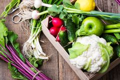 Crate with different fresh farm vegetables. Cauliflower, garlic, radishes, spring onion, beetrots,  and cucumbers on rustic wooden background Stock Photos