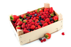 Crate with a diversity of fresh fruit. Wooden crate full with fresh and healthy fruit Stock Photography