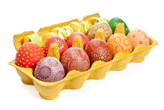 Crate with Easter Eggs isolated on white Royalty Free Stock Image