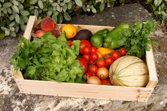 Crate of fruit and vegetables from the market. Food, gastronomy, cooking,cookery Royalty Free Stock Image