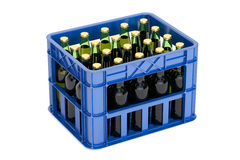 Crate full with beer bottles, 3D rendering. On white background Stock Photography
