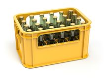 Crate full of beer bottles isolated on white background. 3d illustration Stock Image