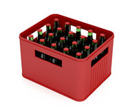 Crate full with beer bottles Stock Photo
