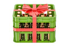Crate full beer bottles with red bow and ribbon, gift concept.. 3D rendering  on white background Royalty Free Stock Images