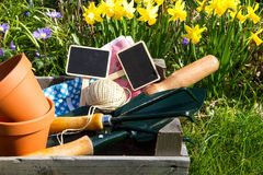 Crate with garden utensils and daffodils Stock Photos