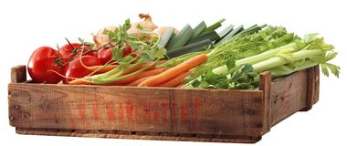Crate of healthy vegetables. Crate of vegetables Royalty Free Stock Photos