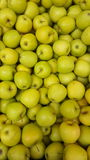 Crate many apples background. Fruit market shop Stock Photo