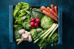 Crate Of Fresh Organic Vegetables Stock Images