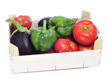 Crate with organic vegetables Royalty Free Stock Photos