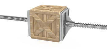 Crate Pressure. Cargo crate held in a screw press 3d, isolated Stock Photo
