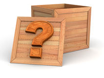 Crate with question Stock Photos