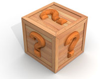 Crate with question Stock Photography