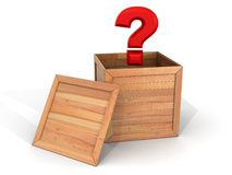 Crate with question Stock Images