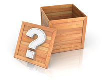 Crate with question Stock Photo