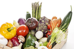 Crate of raw fresh vegetables Royalty Free Stock Image